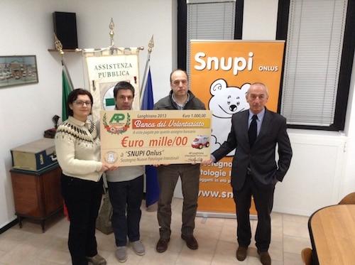 L'Assistenza Pubblica di Langhirano dona 1000 euro a Snupi
